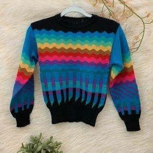 VINTAGE Sz Sm Rainbow Retro 90s Sweater Skiva Int.
